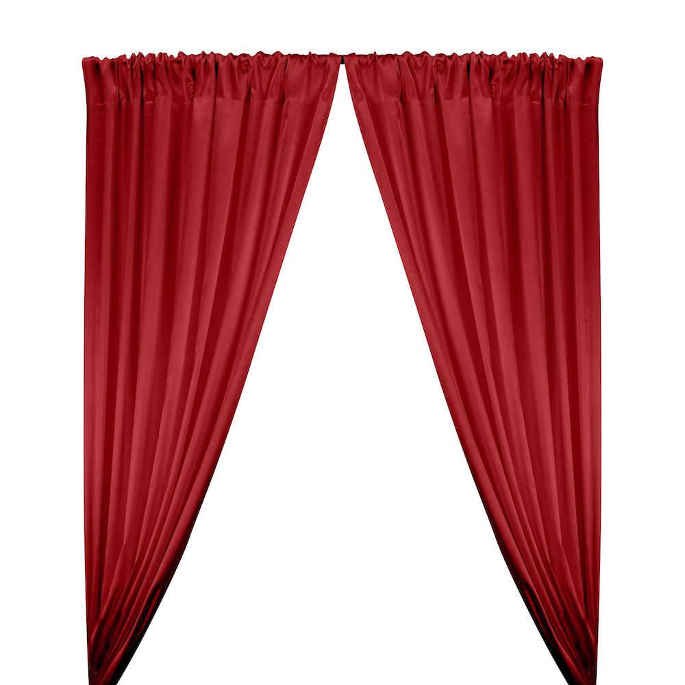 Stretch Charmeuse Satin Rod Pocket Curtains - Dark Red