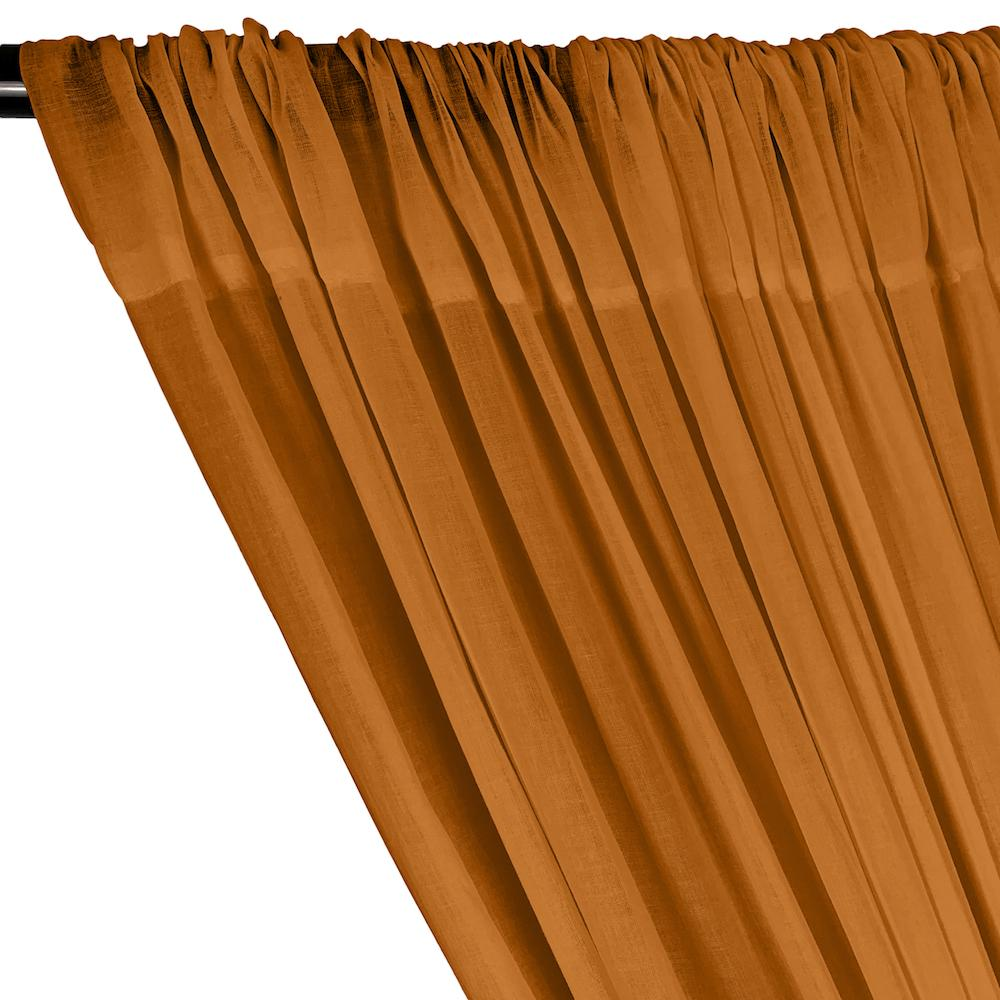 Cotton Voile Rod Pocket Curtains - Dark Saffron