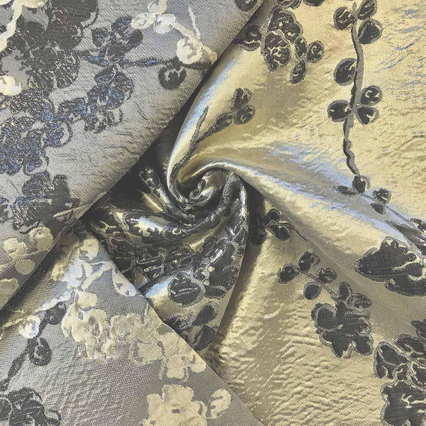 jacquard  Fabric Ivory and silver Fabric Ivory metallic Fabric Jacquard Fabric