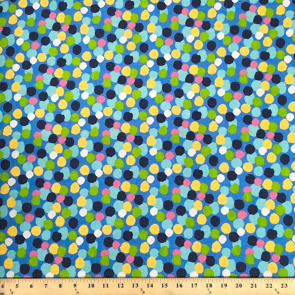 Blue Dots Print Fabric Cotton Polyester Broadcloth 60