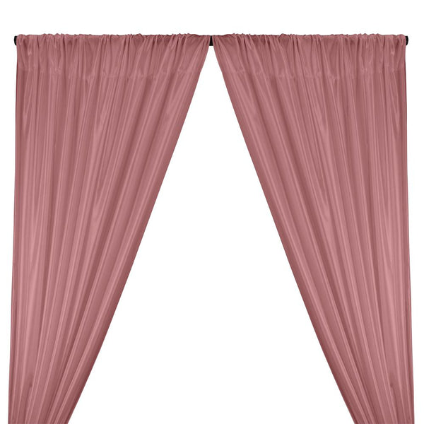 Poly China Silk Lining Rod Pocket Curtains - Dusty Rose