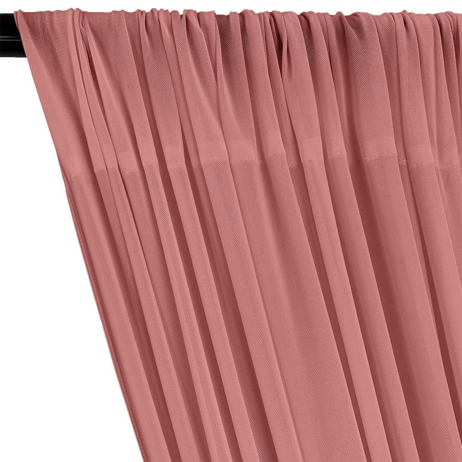 Power Mesh Rod Pocket Curtains - Dusty Rose