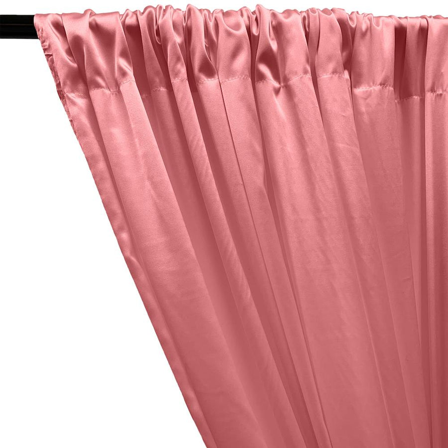 Stretch Charmeuse Satin Rod Pocket Curtains - Dusty Rose