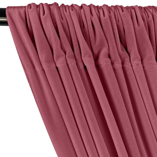 Dusty Rose Stretch Velvet Fabric Curtains With Pockets For