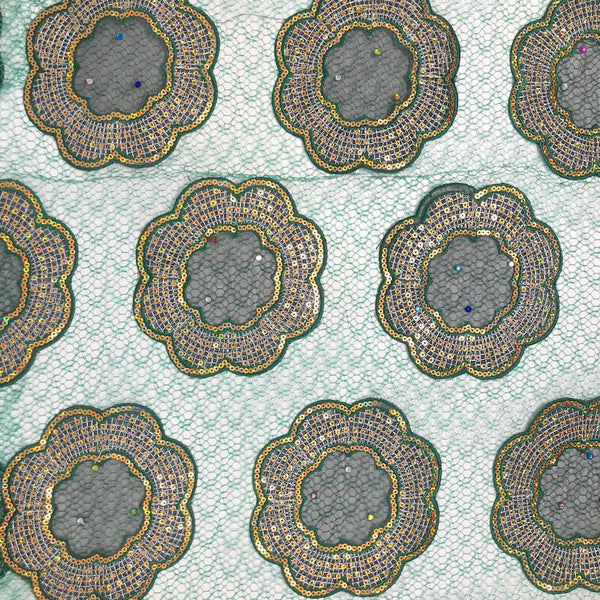 Emerald Floral Medallion Rhinestone Patch Chemical Lace