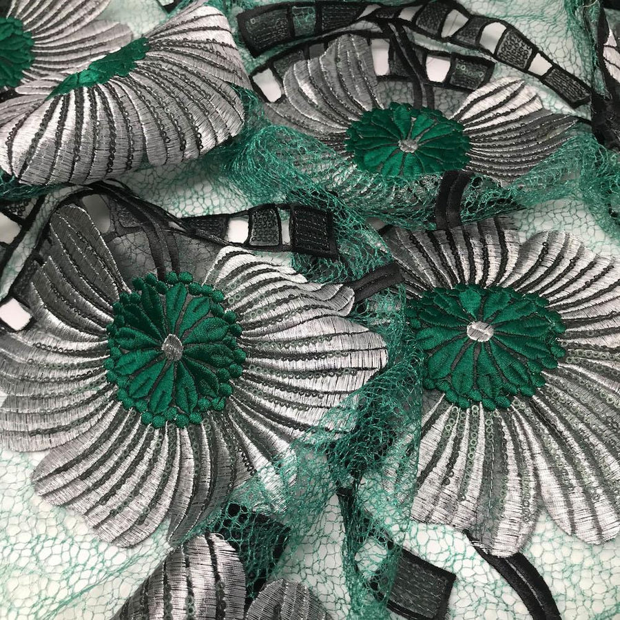 Emerald Sunflower Patch Embroidered Chemical Lace