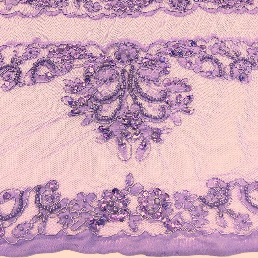 Lilac Empire Beaded Bridal Sequins on Mesh