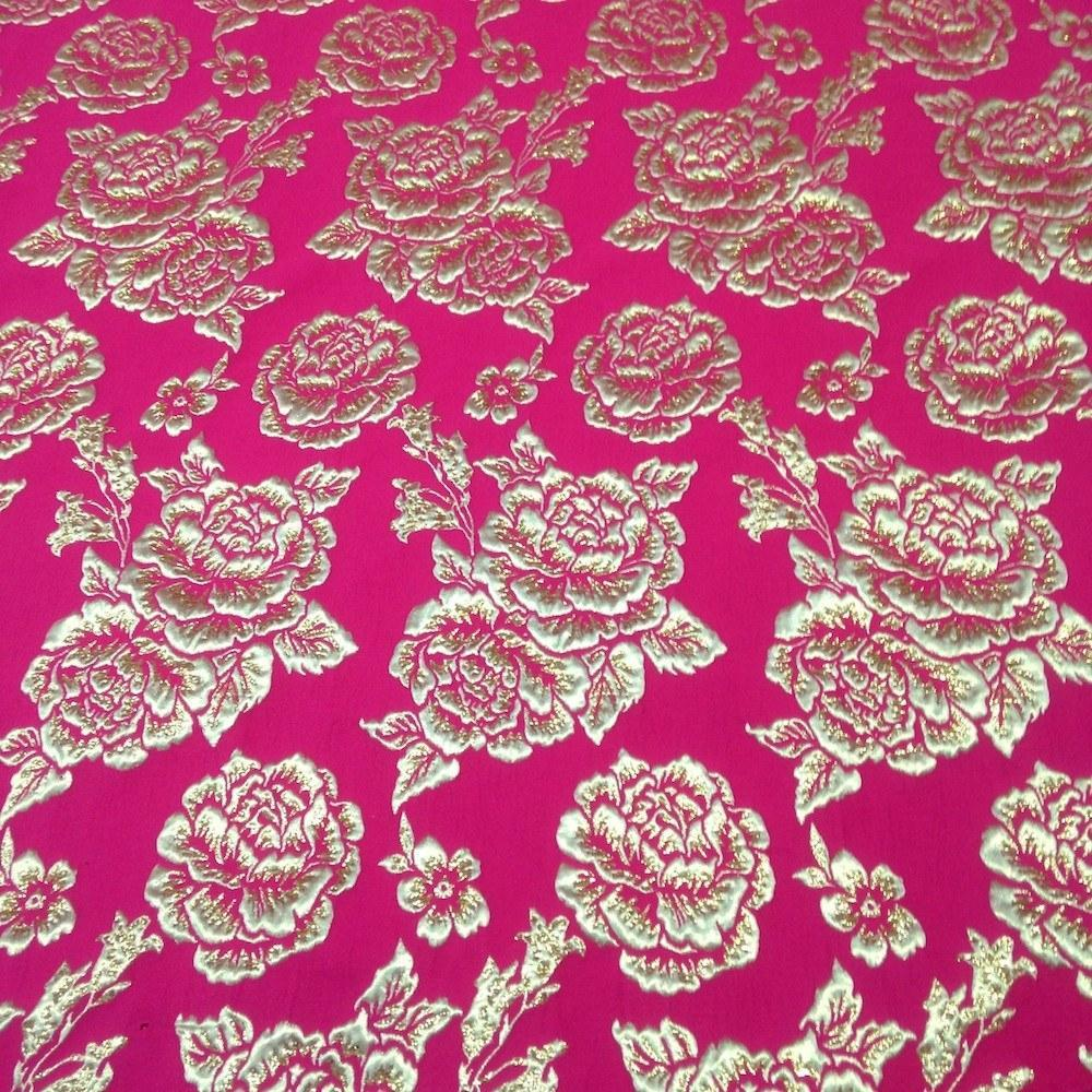 Gold 3D Metallic Jacquard Fabric