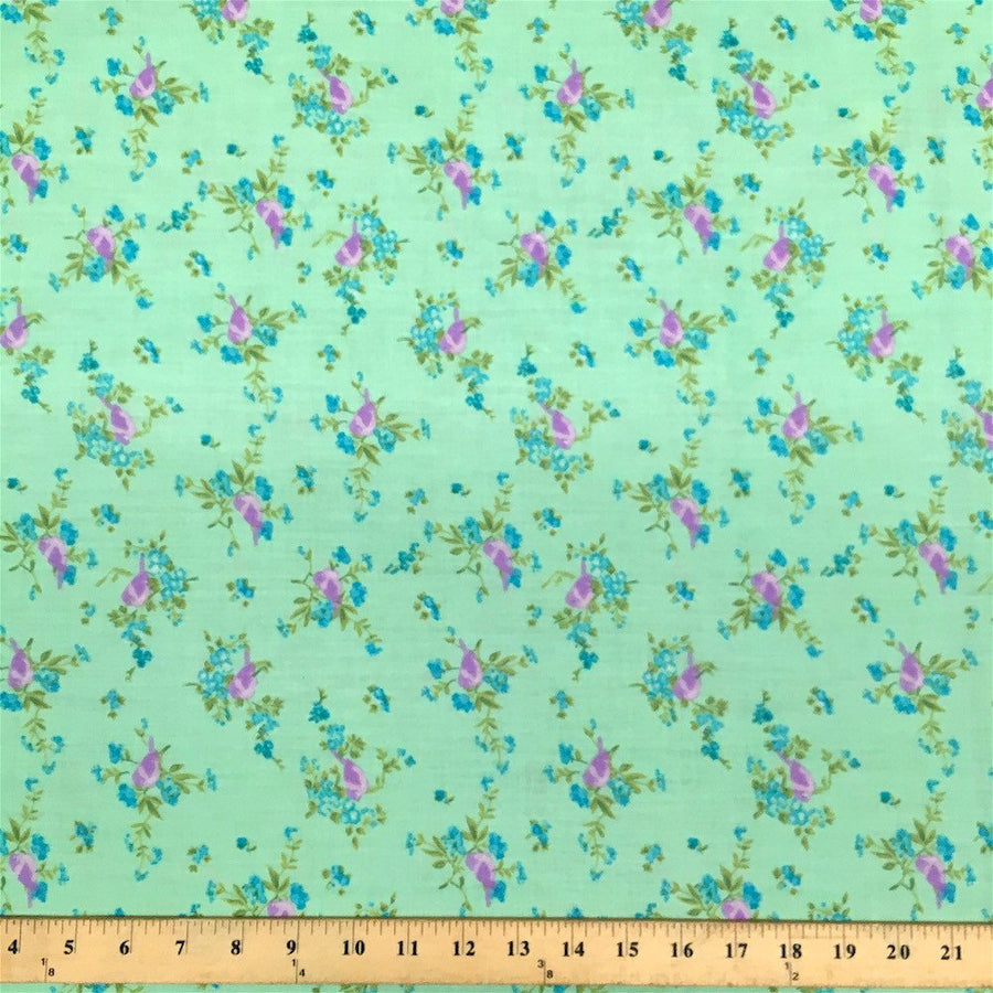 Finch Green Print Broadcloth Fabric