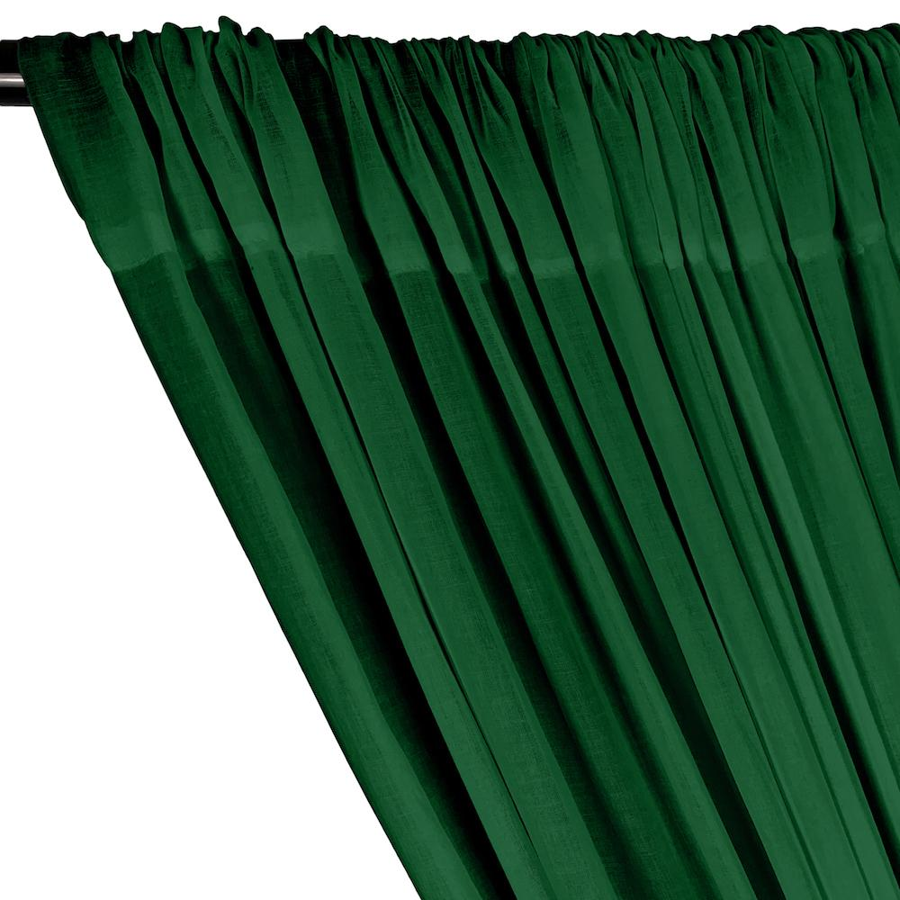Cotton Voile Rod Pocket Curtains - Forest Green