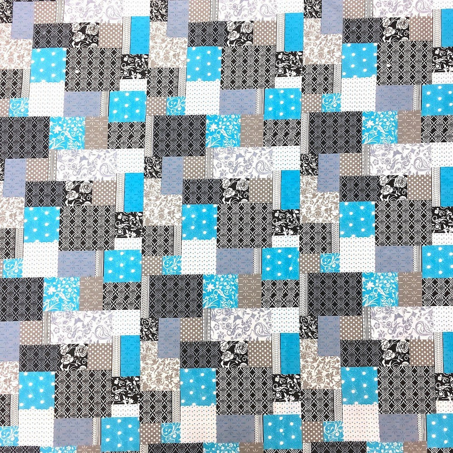 Foulard Patch Aqua Print Sheeting Fabric