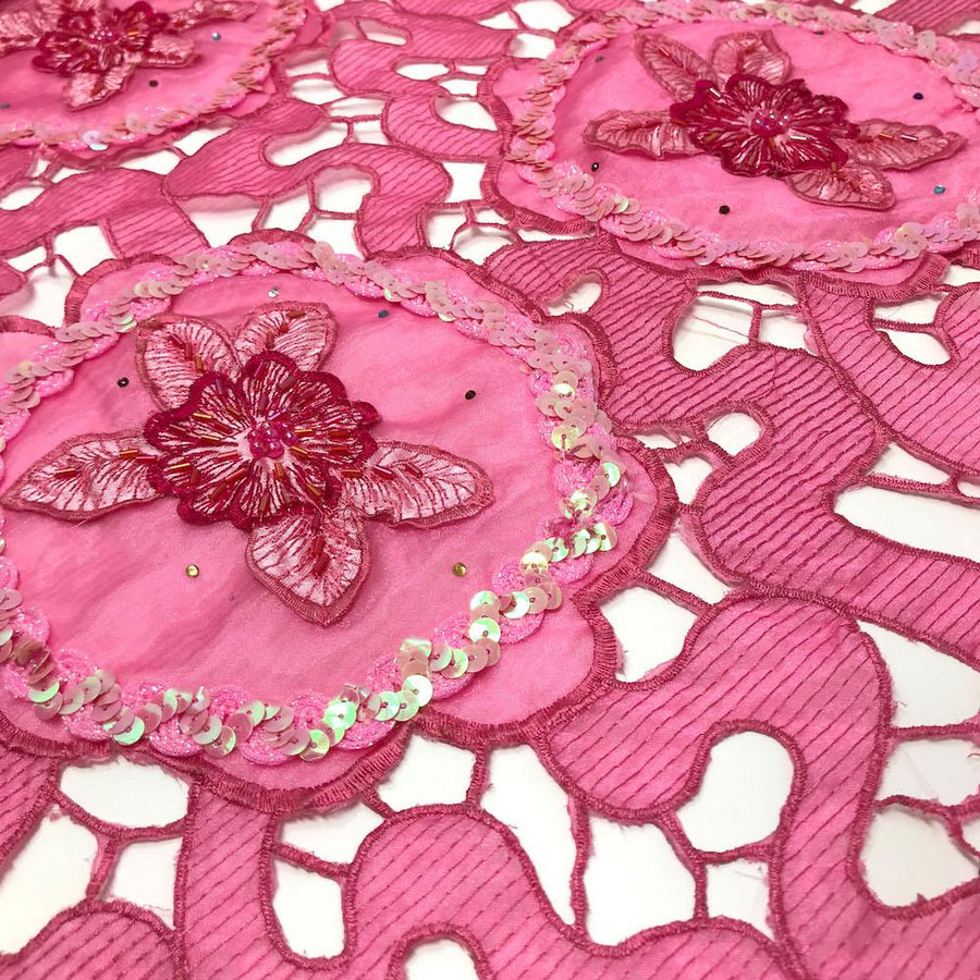 Fuchsia Daffodil Lace with Sequins
