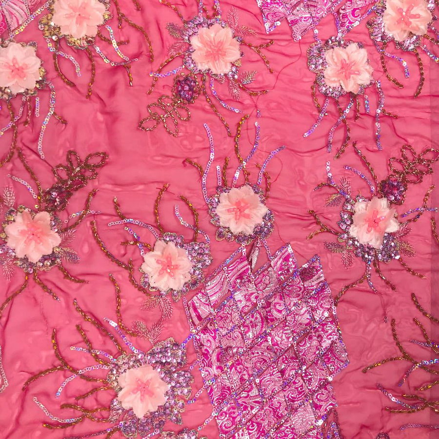 Floral Beaded Sequins Patch on Georgette Lace