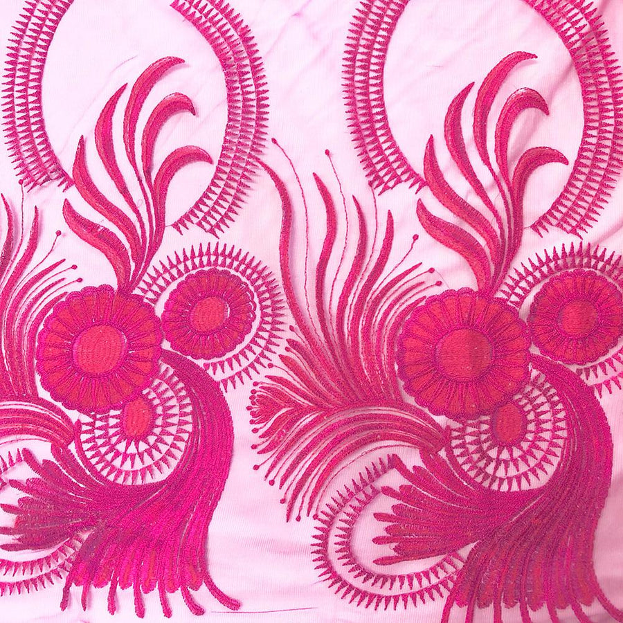 Fuchsia Sunflower Reed Embroidery on Mesh