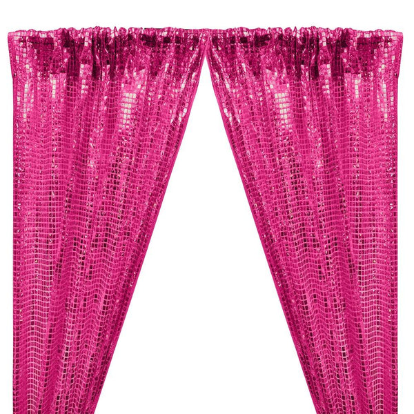 Hologram 8mm Square Sequins Rod Pocket Curtains - Fuchsia