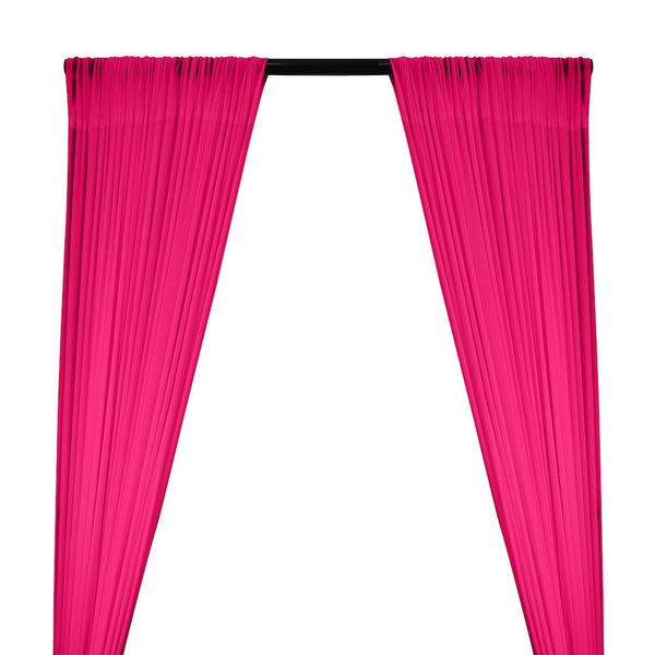 Power Mesh Rod Pocket Curtains - Fuchsia