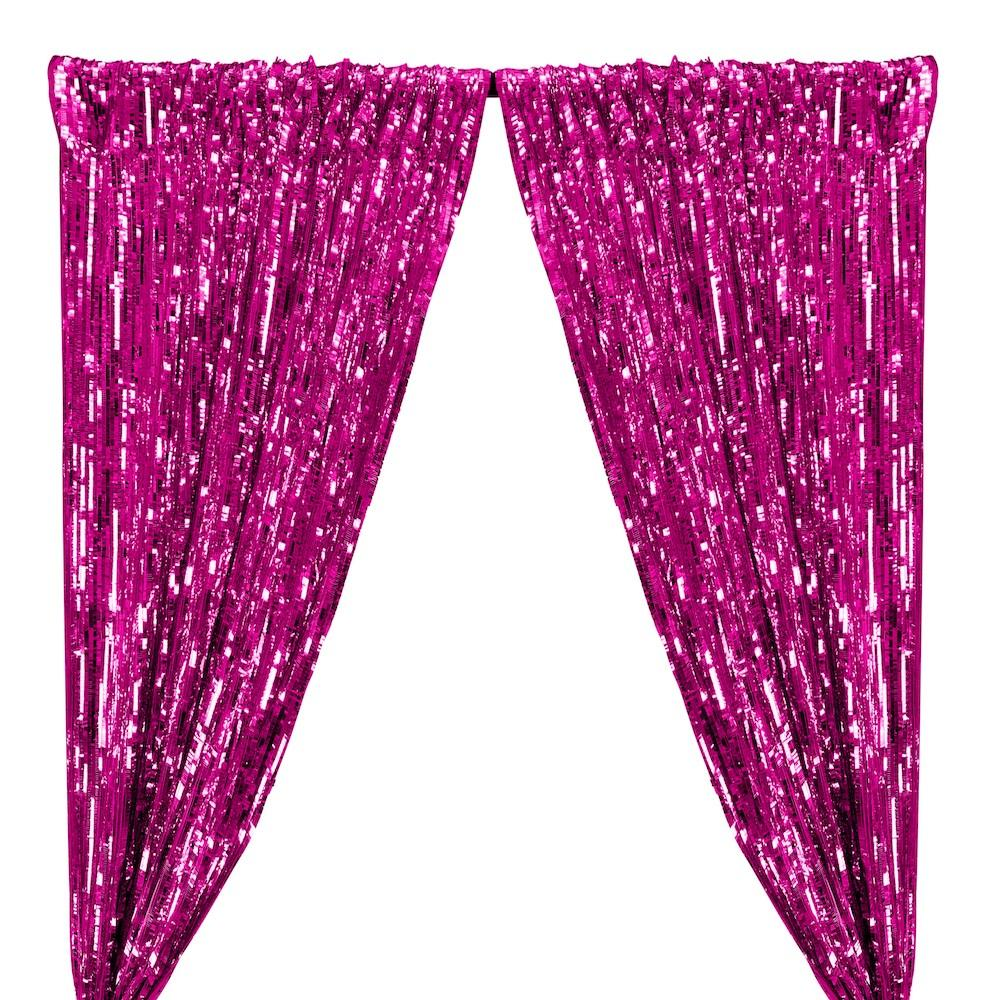 Rectangle Piano Sequins Rod Pocket Curtains - Fuchsia