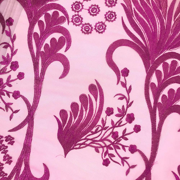 Fuchsia Reed Embroidery on Mesh