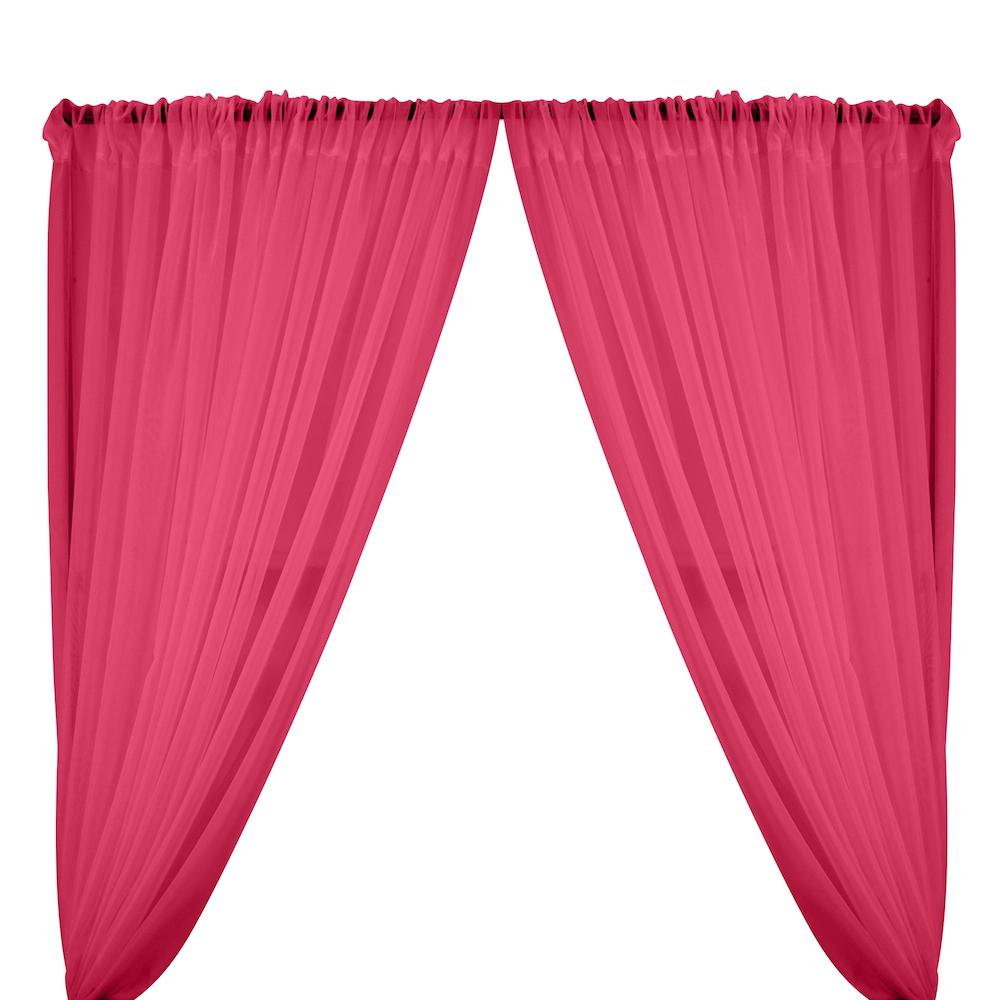 Sheer Voile Rod Pocket Curtains - Fuchsia