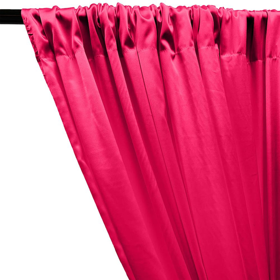 Stretch Charmeuse Satin Rod Pocket Curtains - Fuchsia