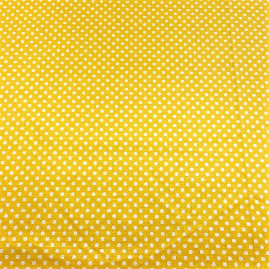 Yellow Polka Dot Printed Cotton