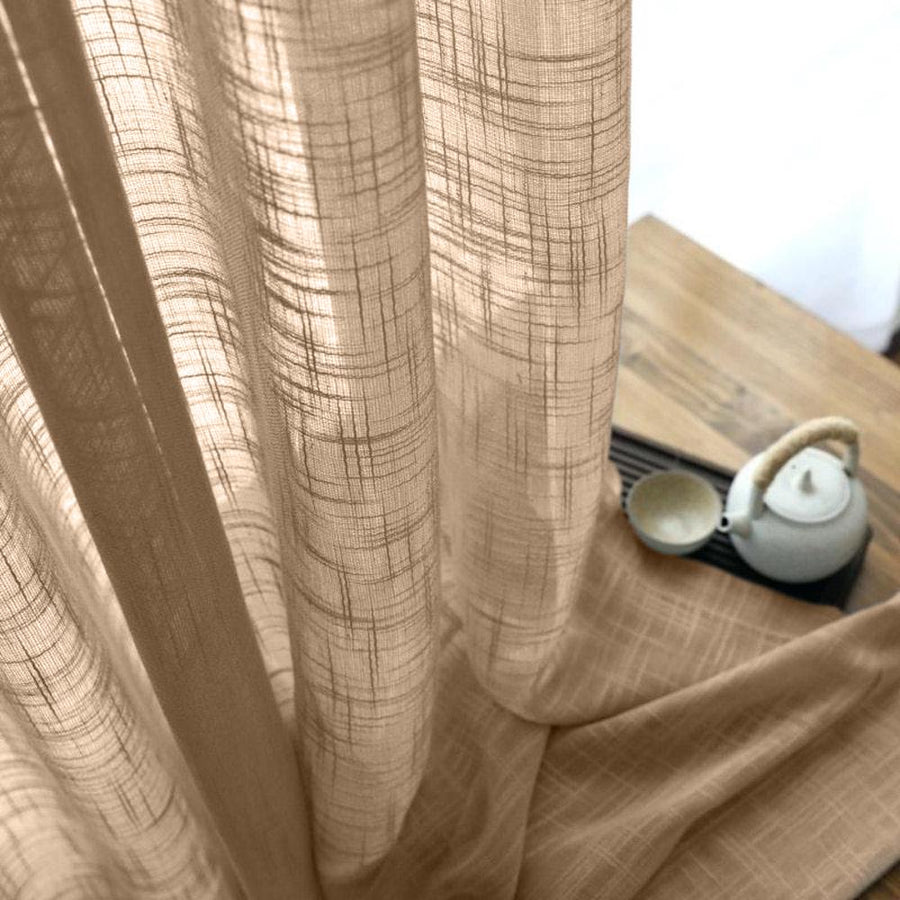 Gasa Sheer Voile Rod Pocket Curtains - Camel