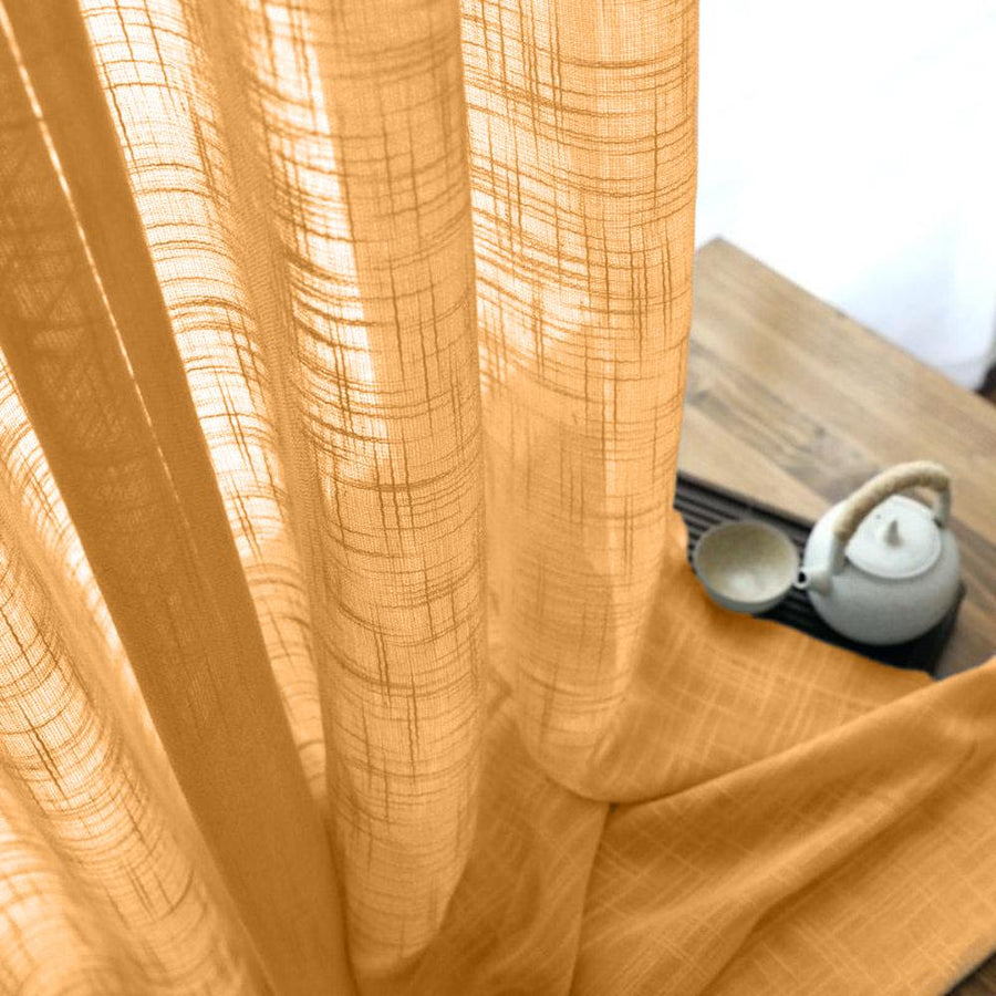 Gasa Sheer Voile Rod Pocket Curtains - Gold