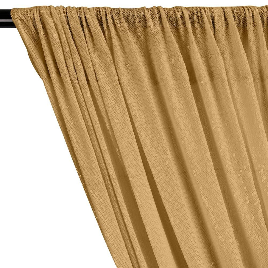 All-Over Micro Sequins Starlight On Stretch Mesh Rod Pocket Curtains - Gold