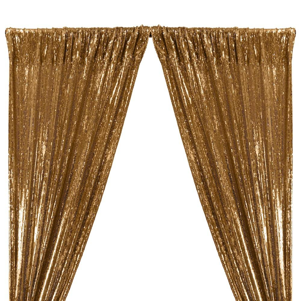 All-Over Sequins Mermaid Scale on Stretch Mesh Rod Pocket Curtains - Gold