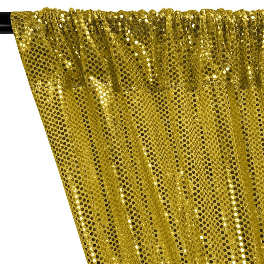 American Trans Knit Sequins Rod Pocket Curtains - Gold on Gold