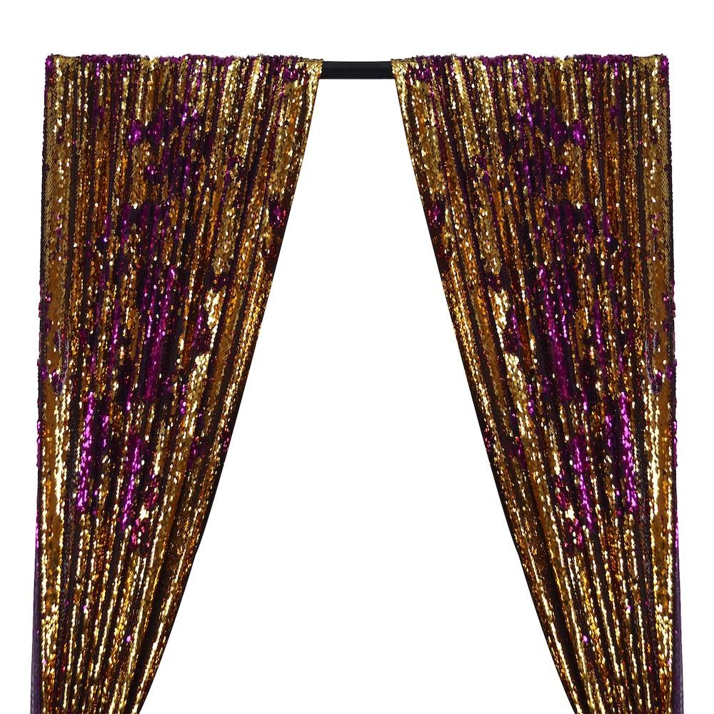 Two-Sided Reversible Sequins Rod Pocket Curtains - Gold / Purple