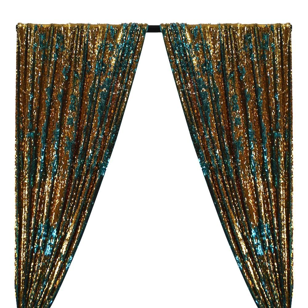 Two-Sided Reversible Sequins Rod Pocket Curtains -  Gold / Turquoise