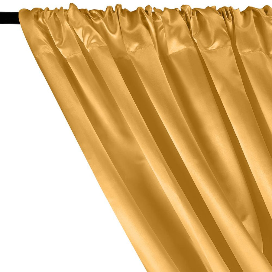 Bridal Satin Rod Pocket Curtains - Gold