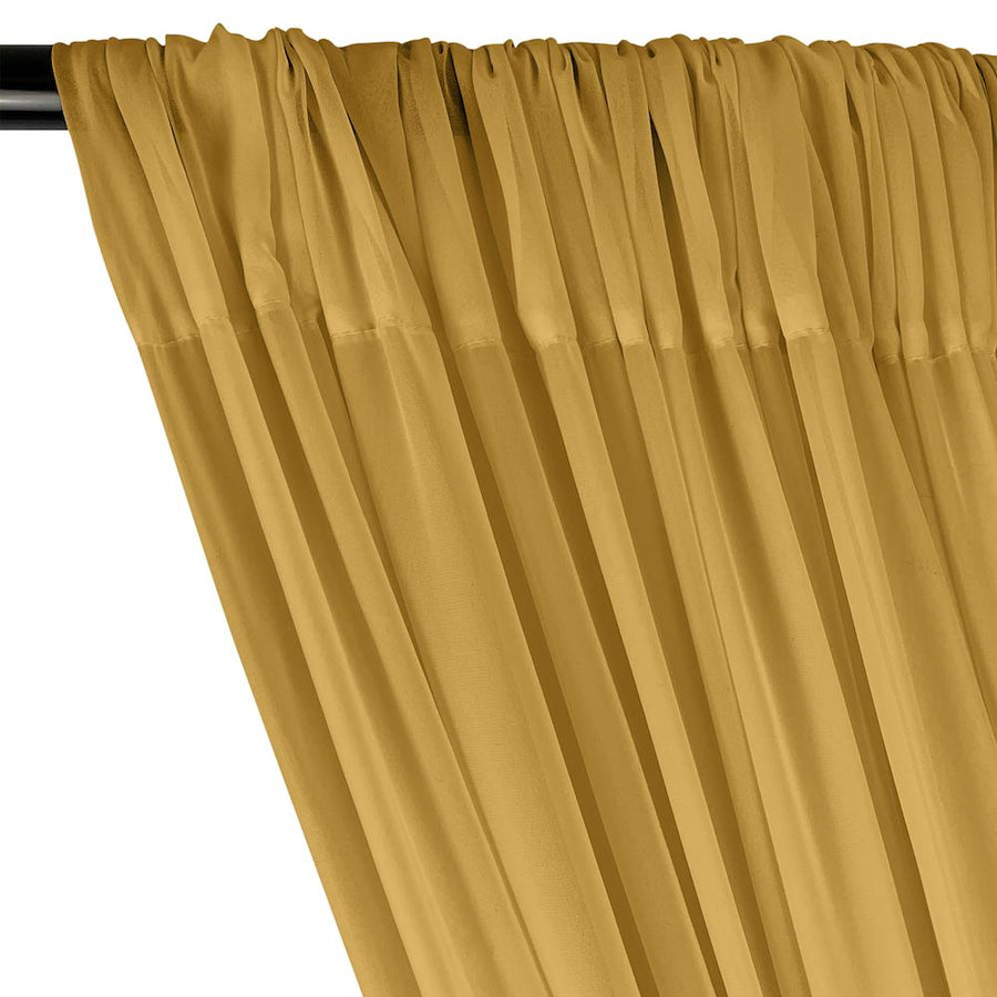 Polyester Chiffon Rod Pocket Curtains - Gold