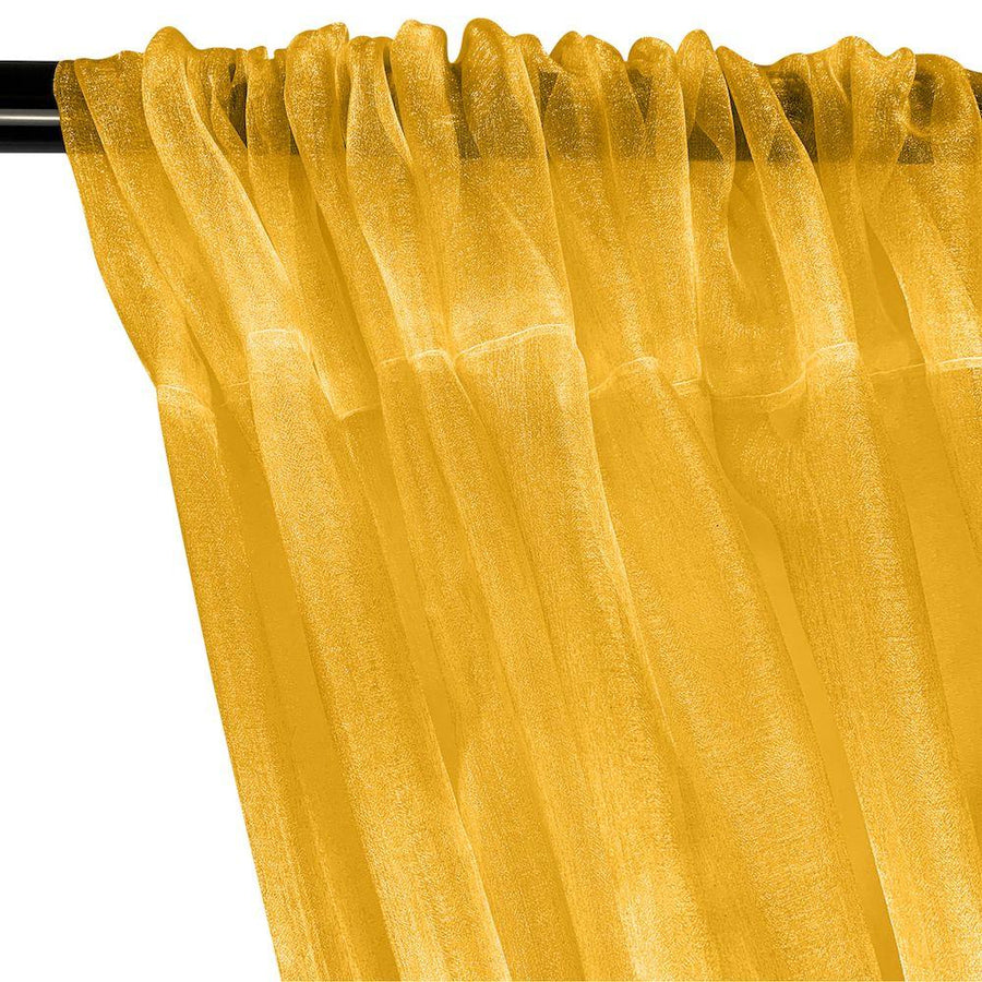 Crystal Organza Rod Pocket Curtains - Gold