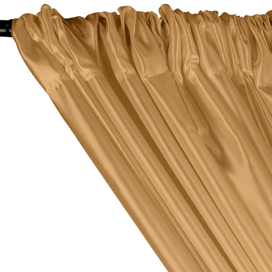 Extra Wide Nylon Taffeta Rod Pocket Curtains - Gold