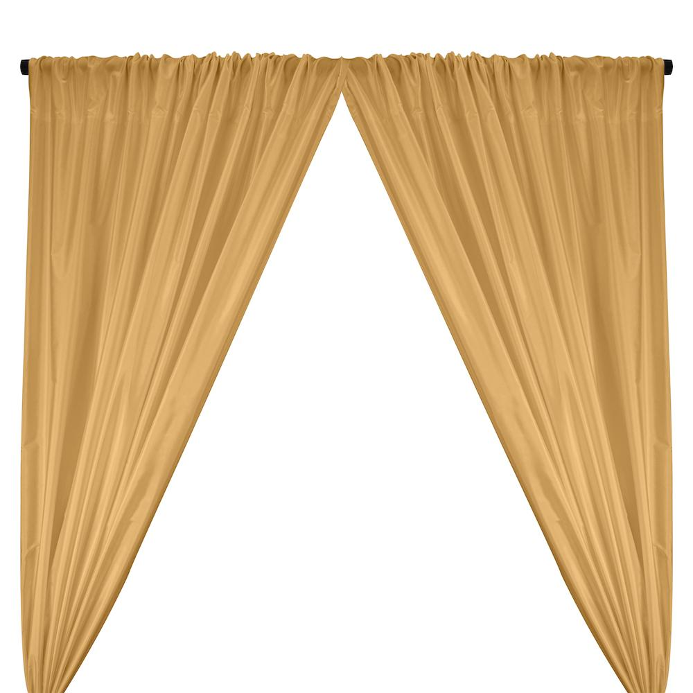 Polyester Taffeta Lining Rod Pocket Curtains - Gold