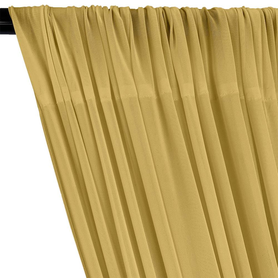 Power Mesh Rod Pocket Curtains - Gold