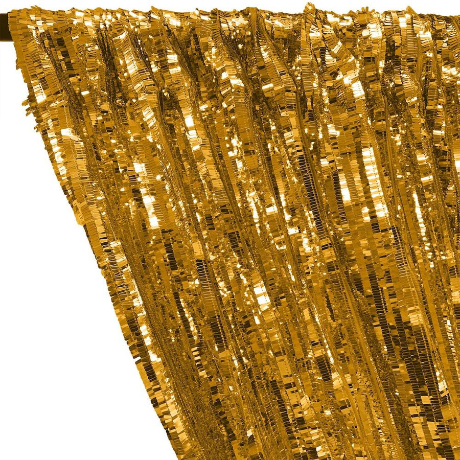Rectangle Piano Sequins Rod Pocket Curtains - Gold
