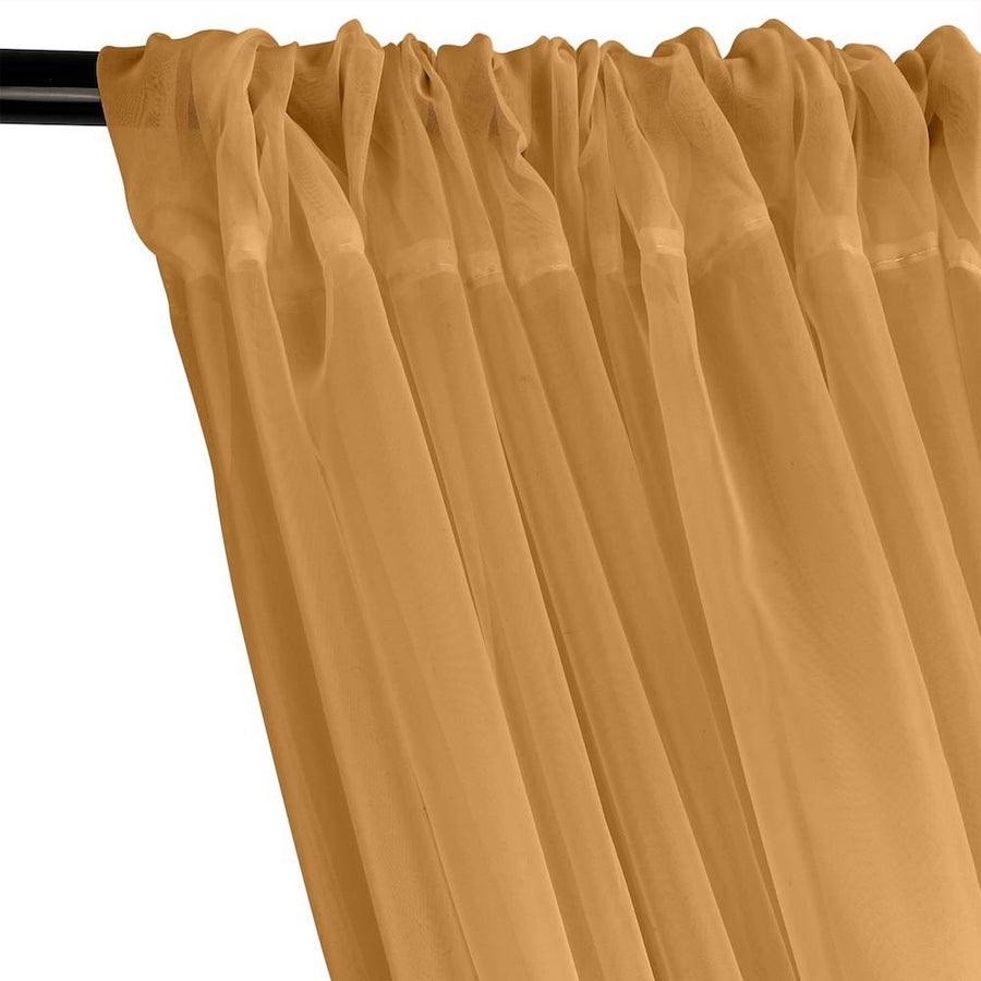 Sheer Voile Rod Pocket Curtains - Gold