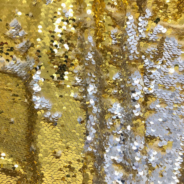 Two-Sided Reversible Sequins on Stretch Mesh