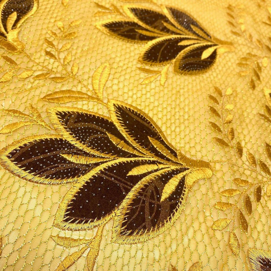 Gold Sparkled Mint Leaves Metallic Embroidery Lace