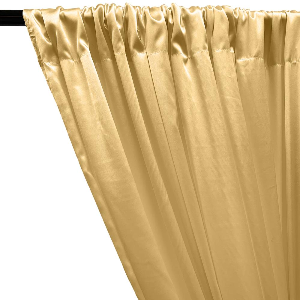 Stretch Charmeuse Satin Rod Pocket Curtains - Gold
