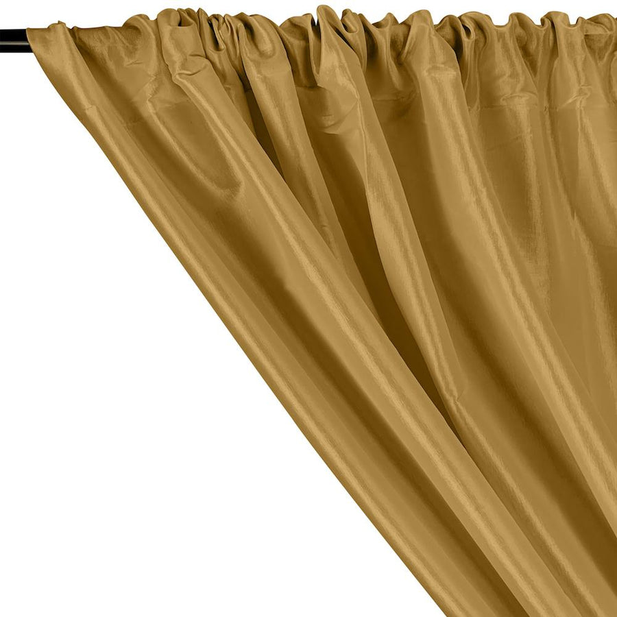 Stretch Taffeta Rod Pocket Curtains - Gold