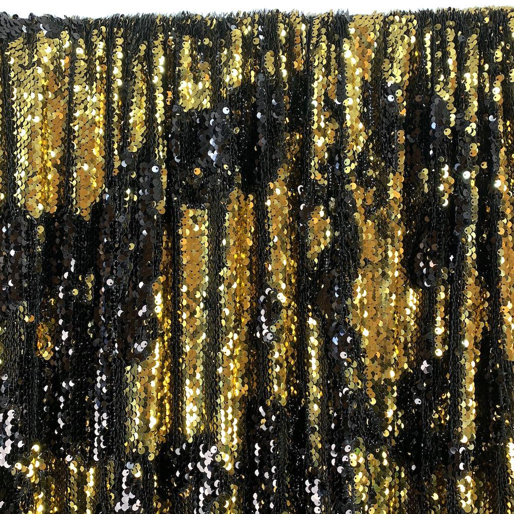 Two-Sided Reversible Sequins Rod Pocket Curtains - Gold / Black