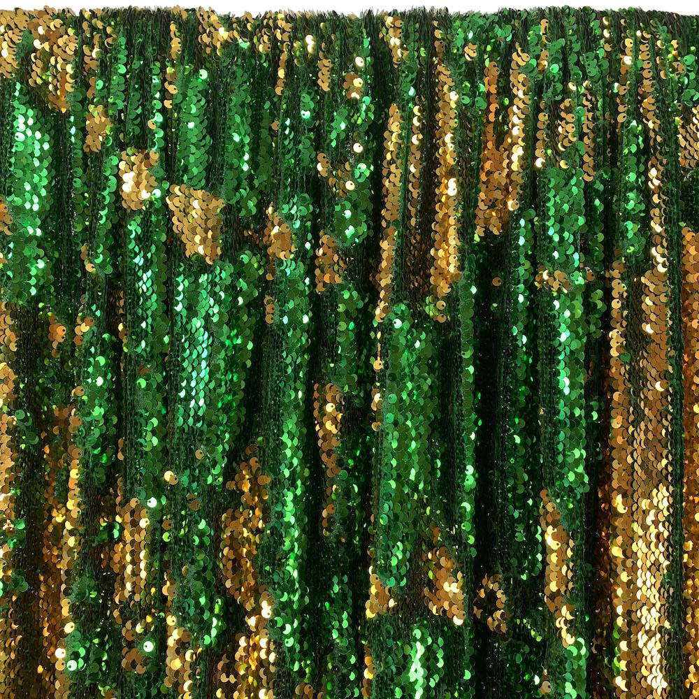 Two-Sided Reversible Sequins Rod Pocket Curtains (All Colors Available) - Gold / Kelly Green