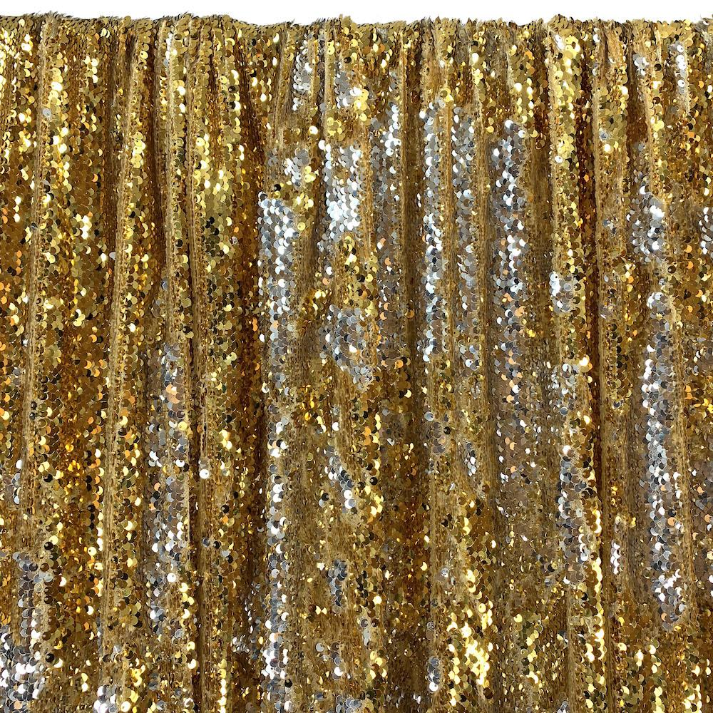 Two-Sided Reversible Sequins Rod Pocket Curtains - Gold / Silver