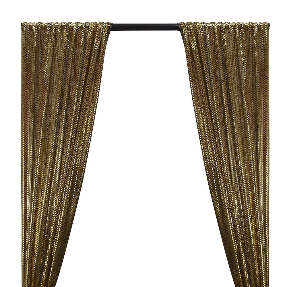 American Trans Knit Sequins Rod Pocket Curtains - Gold on Black