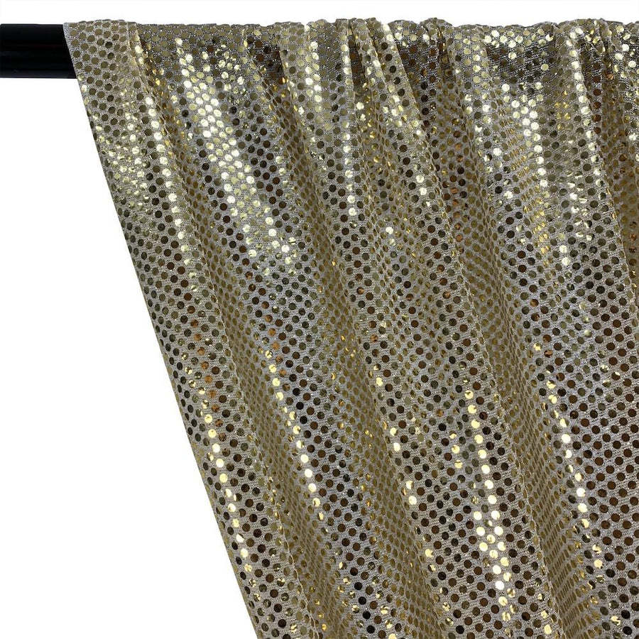 American Trans Knit Sequins Rod Pocket Curtains - Gold on Silver