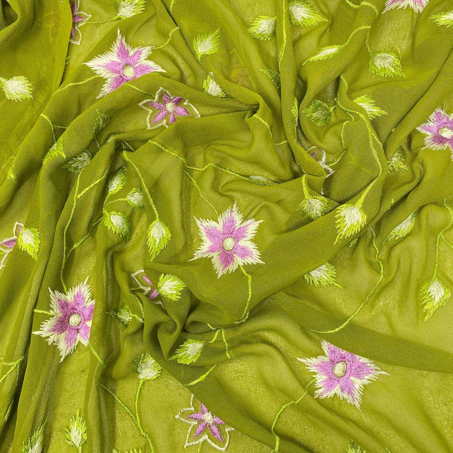 Green Floral Burst Embroidery on Georgette